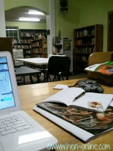 Kicking it at the library